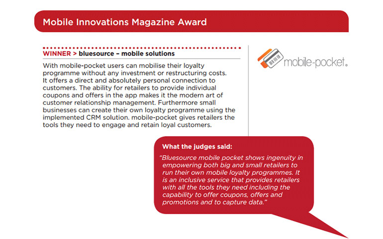 Mobile Innovations Magazine Award quote from mobile-pocket